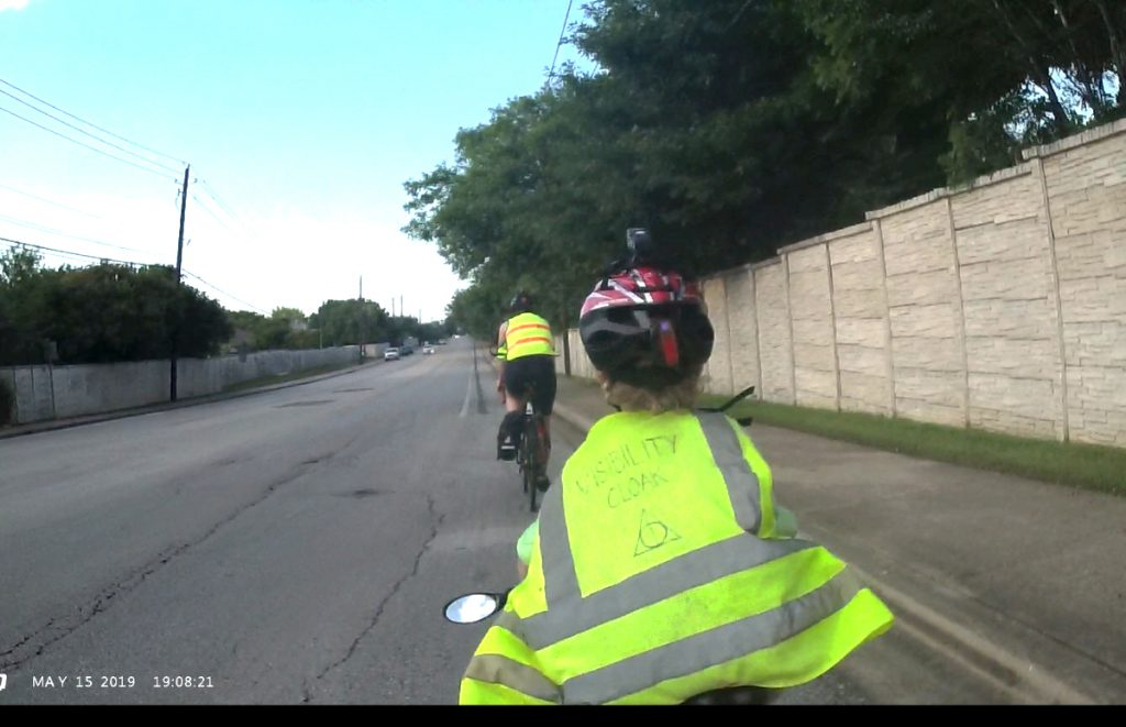 Entering the bike lane on Bratton Drive